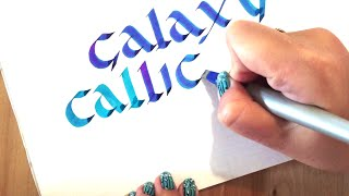How to write galaxy calligraphy with gradient colors