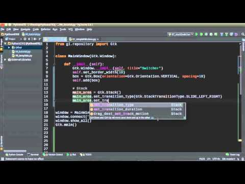 Python GUI Development with GTK+ 3 - Tutorial 7 - Stack and StackSwitcher