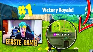 Ninja zijn eerste Fortnite game.. (Fortnite: Battle Royale NEDERLANDS/NL)