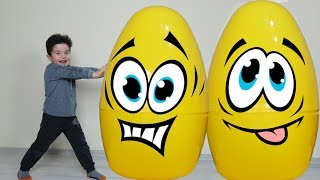 Yusuf pretend play with giant surprise eggs-Funny Kids Video