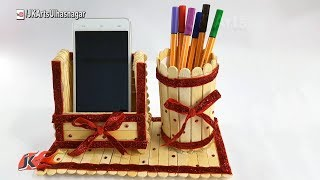 DIY Pen stand and Mobile phone holder with icecream sticks | How to make | JK Arts 1232