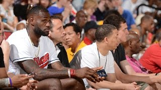 LeBron James Hits Seated Sideline Shot