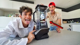 I CRUSHED my TWIN BROTHER'S iPhone in a BLENDER!