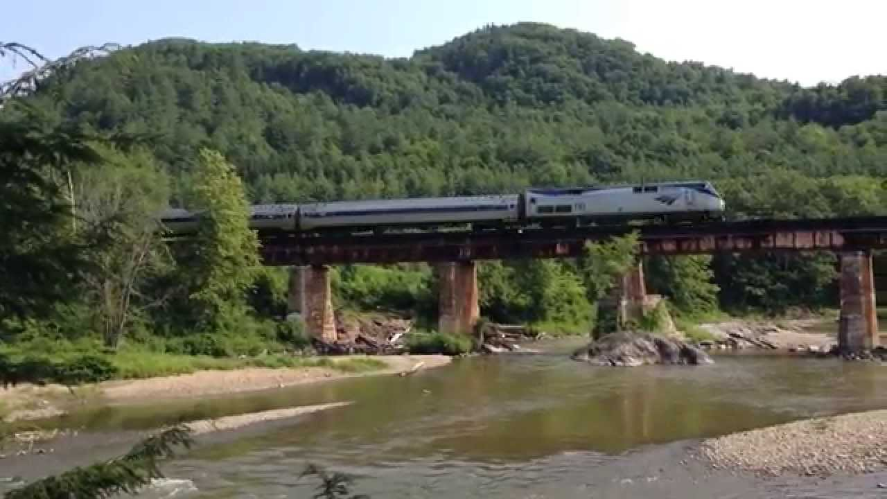 Amtrak vermonter crosses the winooski river in waterbury for The waterbury