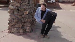 Split in half man scares pants off of strangers