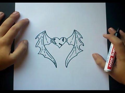 Como dibujar un corazon con alas paso a paso | How to draw a ...