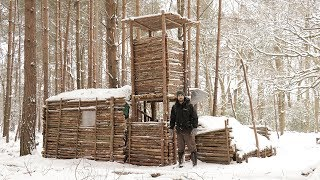 Bushcraft Camp in the Snow - Fire, Shelter, Axe, Cooking Fish