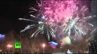 Праздничный салют в Севастополе в честь годовщины воссоединения Крыма с Россией