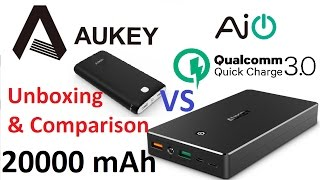 UNBOXING & Comparison : AUKEY 20000 mAh Qualcomm QuickCharge 3.0 Power Bank - MicroUSB / Lightning
