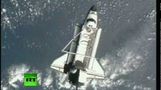 NASA video_ Shuttle Discovery undocks from ISS for the very last time