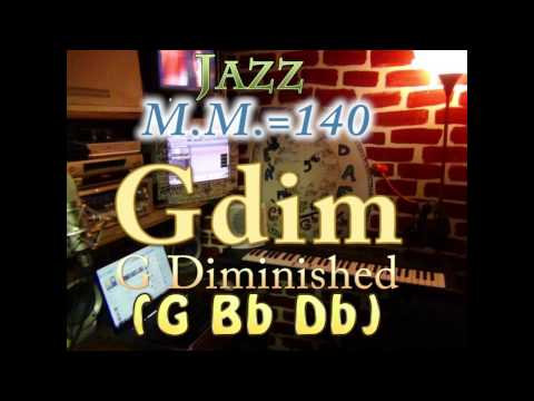 G Diminished (G Bb Db) - Jazz - M.M.=140 - One Chord Backing Track