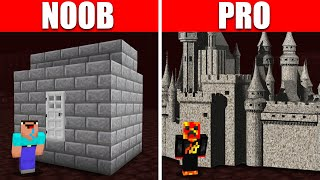Noob vs. Pro Realistic Nether House Build Battle! (Preston)