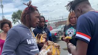 JayDaYoungan passing out food & money to the homeless In Cali