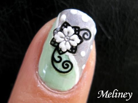 Nail Art Tutorial - Snow Flower Design Polka Dots Black and White Green Nail Design