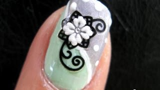 FLOWER NAIL ART TUTORIAL | SNOW FLOWER DESIGN STICKER MINT GREY POLKA DOT HOW TO EASY BASIC COOL
