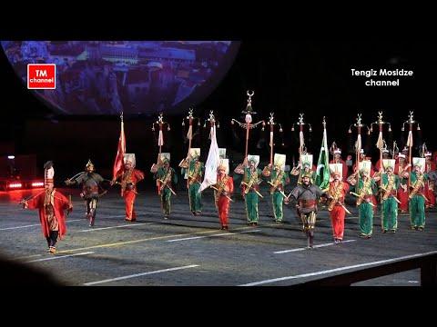 Turkish brass band Mehter at the military music festival Spasskaya tower. Спасская башня 2017.