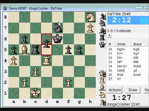 Chess World.net :  Blitz #79 vs. DaTribe (2049) - Sicilian: Smith-Morra gambit (B21)