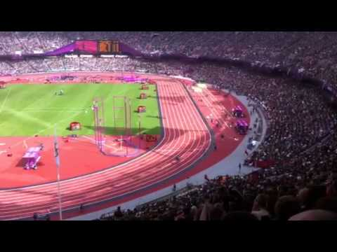 Jessica Ennis first jump in Heptathlon Long Jump at London