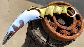 Turning a Rusty BEARING into a Shiny but Razor Sharp KARAMBIT