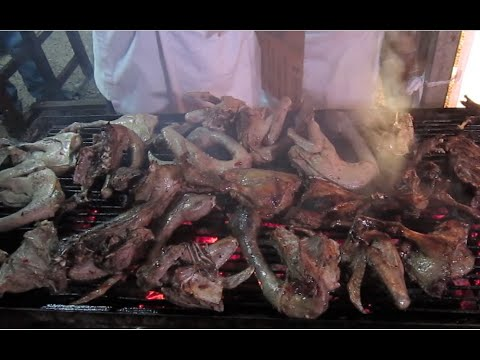 Grilled ducks meat and duck liver, the Khmer cuisine   Street food in Cambodia