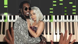 Offset ft. Cardi B - Clout (Piano Tutorial Lesson)