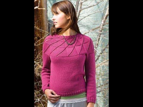 как связать женский джемпер пуловер спицами видео ютуб