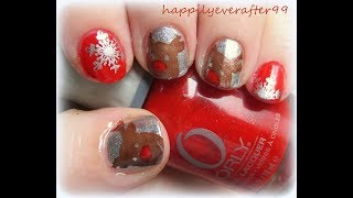 Rudolph Red Nose Reideer & Snowflake Nail Art