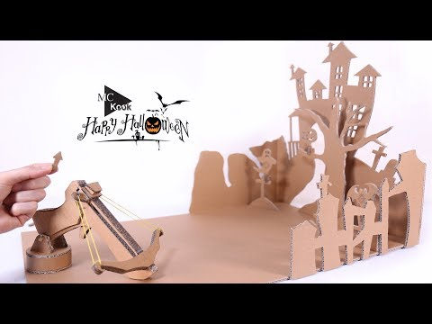 How to make Toy Crossbow Shooting Game(Halloween) - Cardboard DIY