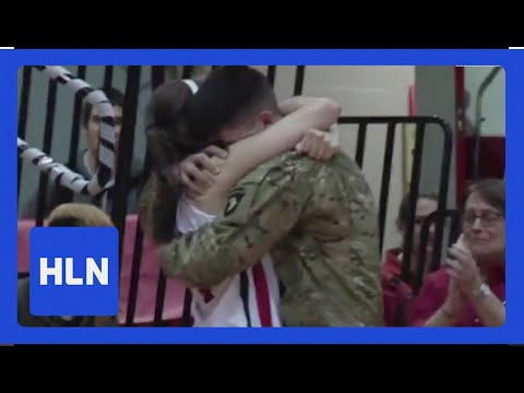 Military Brother Surprises Sister At Her Last Game! video