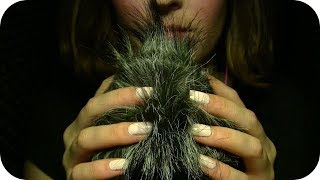 ASMR ☾✴ Fluffy Windguard Touching & Squishing ••• Close Up Whisper Ramble ••• Hand Movements ✴☽