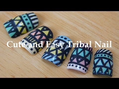 cute and easy tribal nail youtube