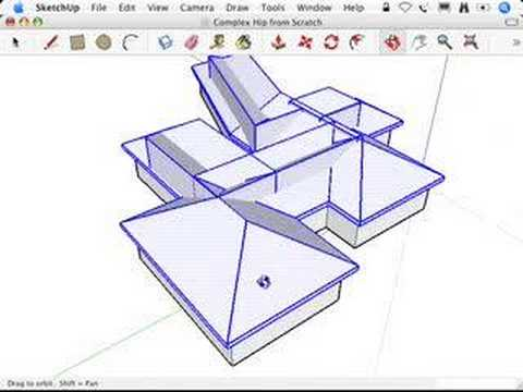 Sketchup Complex Hip Roofs And The Follow Me Tool Youtube