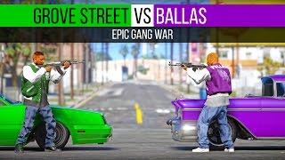 Grove Street VS Ballas | Epic Gang War - GTA V PC Editor ( 21:9 )