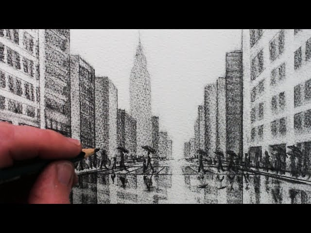 How to Draw a City Tonal Pencil Drawing