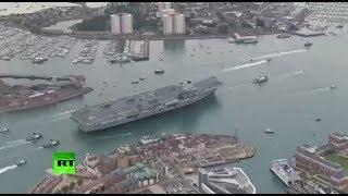 AERIAL: UK's HMS Queen Elizabeth flagship carrier sails into Portsmouth