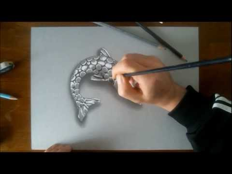 3D illusion drawing FISH CHROME ORNAMENT