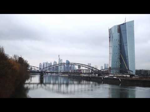 Construction of the new European Central Bank building in Frankfurt am Main