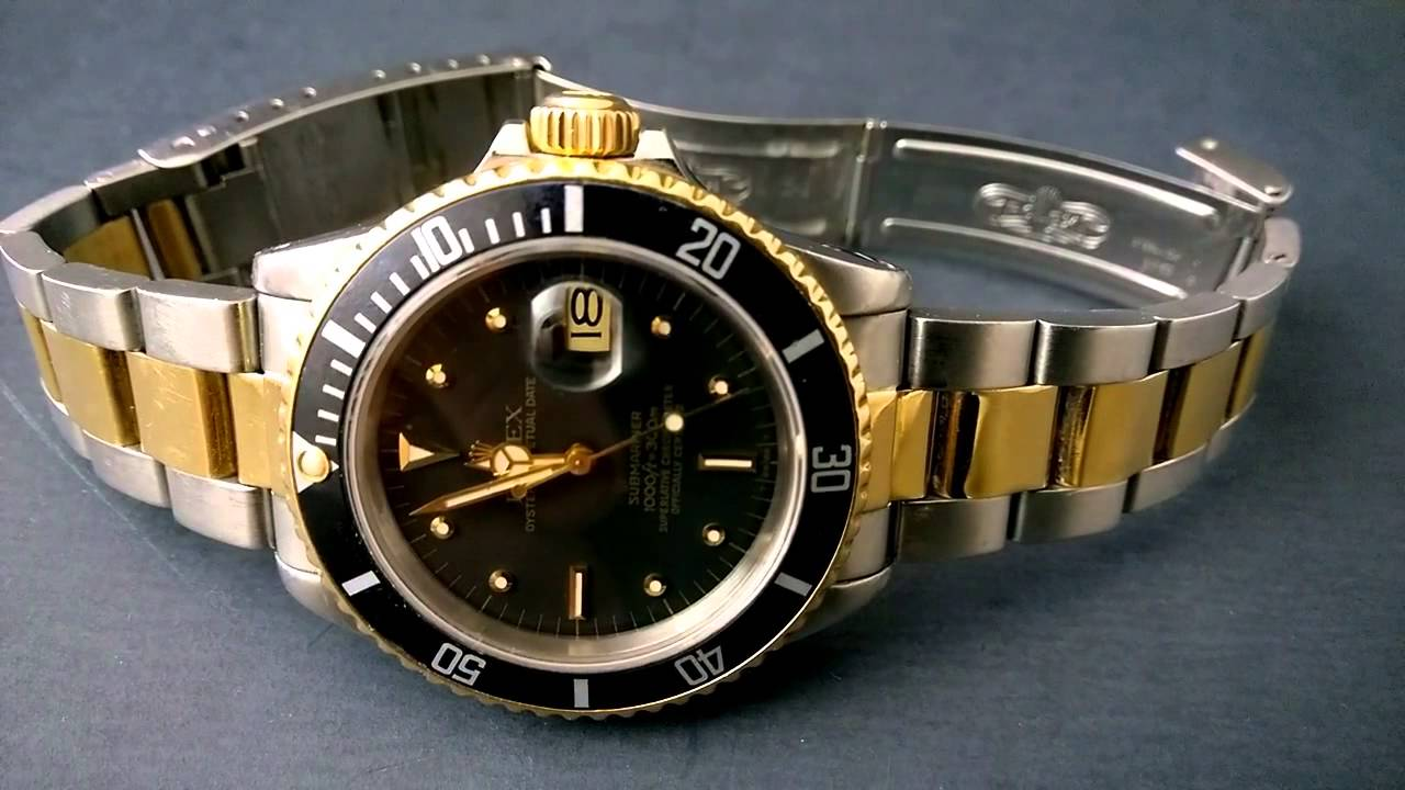 vintage rolex submariner 16803 two tone black with rare