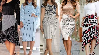 top trendy fashion Korean style two peace dress stylish pencil skirt with designer blouse collection