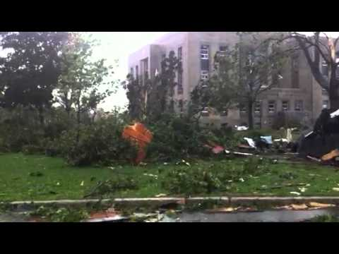 Tornado touched down in Goderich. Town square is obliterated. Video was taken minutes after tornado destruction. State of emergency has been declared. Emerge...
