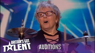 77 Year Old Drummer Leaves Simon Cowell Speechless! ROCK N' ROLL!| Britain's Got Talent 2020