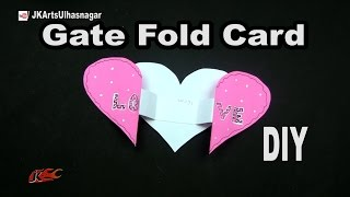DIY Gate Fold Heart Shape Card  for Scrapbook | How To Make  | JK Arts  1043