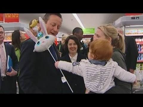 David Cameron in Asda baby Easter Bunny balloon 'attack'