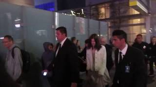 Alexandra Daddario signs autographs as she walks to the Rampage premiere after-party