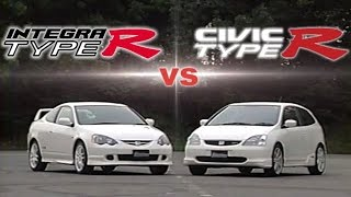 [ENG CC] Civic Type R EP3 vs. Integra Type R DC5 drag race 0-400m and mini course battle 2001