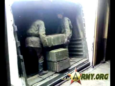 Погрузка снарядов на полигоне ашулук