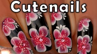 Red & white Asian flowers one stroke nail art tutorial
