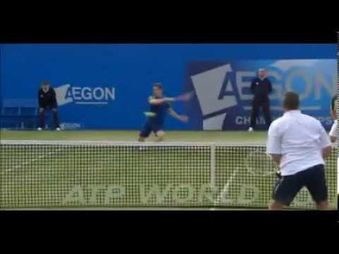 Andy Murray hits his coach Ivan Lendl and celebrates - Queen's rally against cancer Charity Match