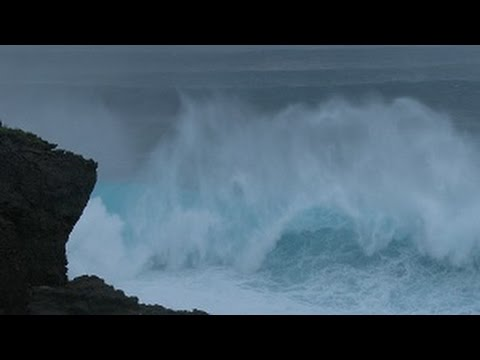 Typhoon Neoguri Huge Waves and Rough Seas Stock Footage Screener - 4K and HD 30p