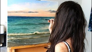 Oil Painting Time Lapse | Ocean with calm waves